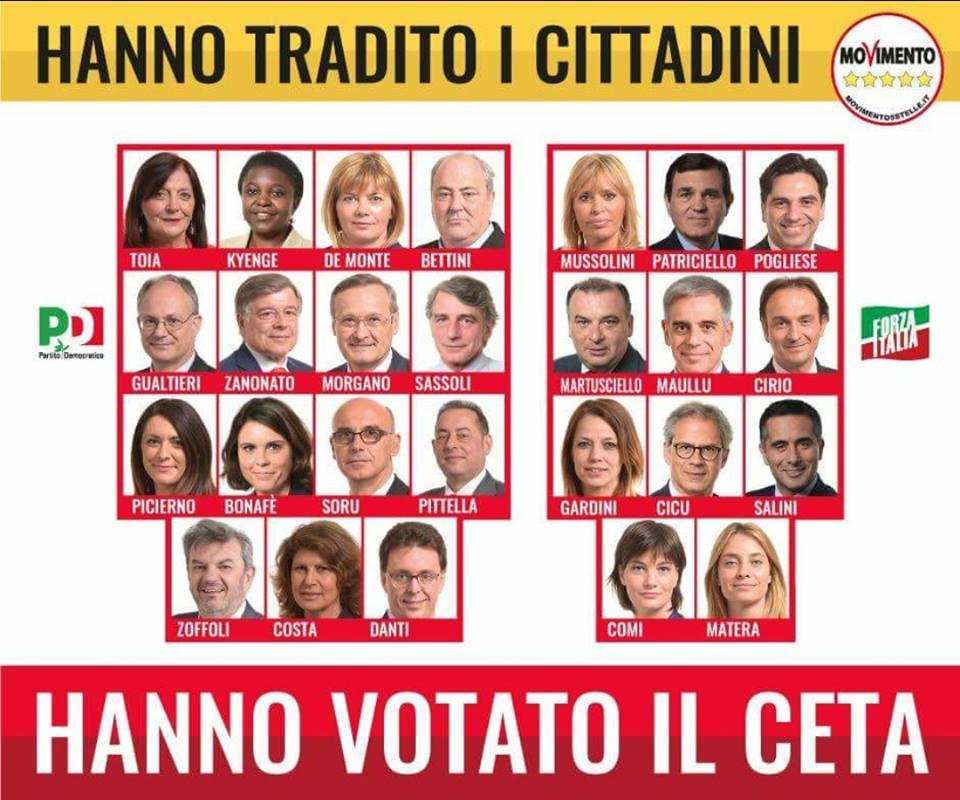 Nella foto i parlamentari europei italiani che hanno votato a favore del CETA.